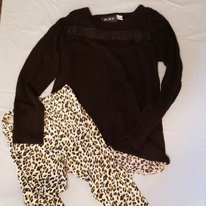 CHILDRENS PLACE LEGGINGS AND TOP MEDIUM